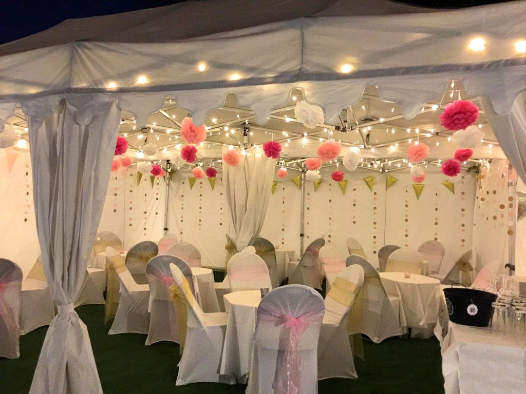 6m x 6m marquee with leg curtains and valances.