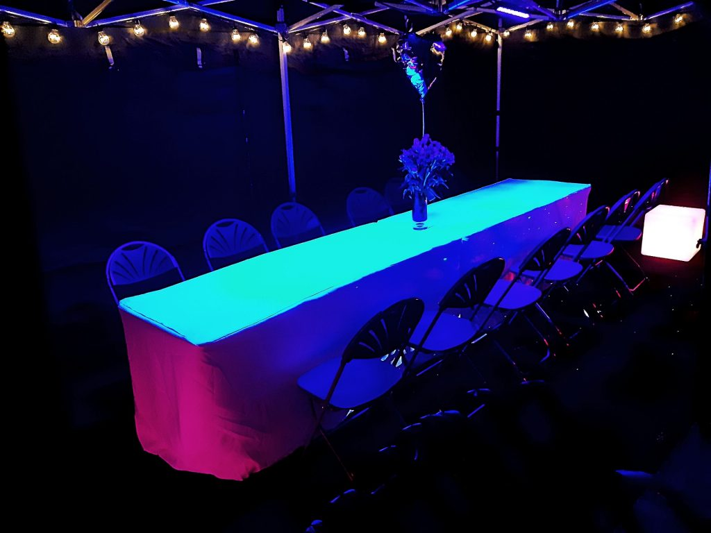 black 3m x 6m marquee, glow furniture and PA system